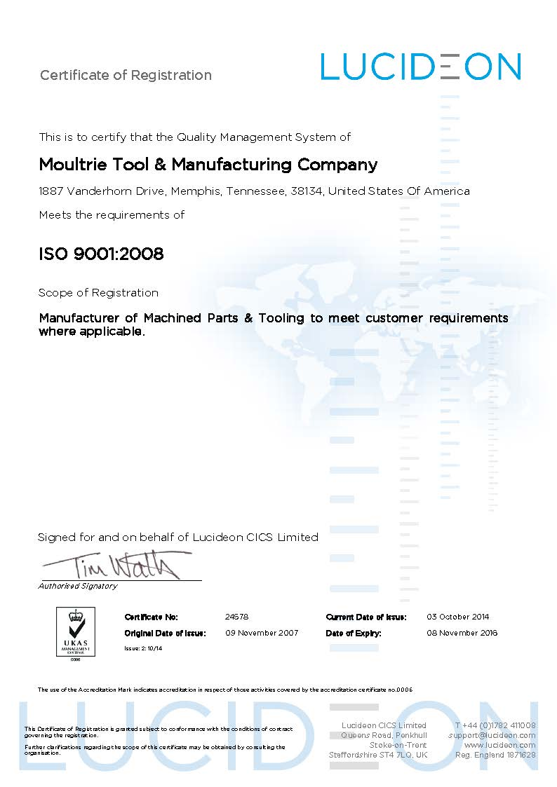 24578 - Moultrie Tool + Manufacturing Co. Iss 2 Exp Nov 2016